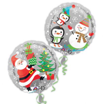 18 inch-es fólia léggömb vidám karácsonyi mintával