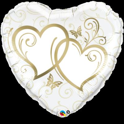 91 cm-es dupla szíves aranyszínű esküvői fólia léggömb