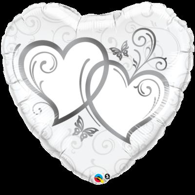 91 cm-es dupla szíves ezüstszínű esküvői fólia léggömb