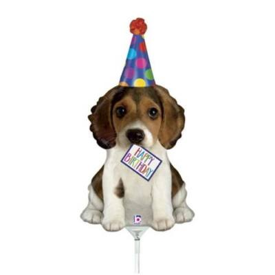 Mini fólia lufi - Happy Birthday kutyussal