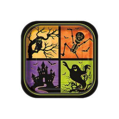 Kísértetház Tányér Halloweenre - 23 cm, 8 db-os