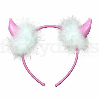 Pink ördögszarv fehér tollakkal