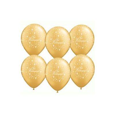 11 inch-es Sok Boldogságot feliratú esküvői gumi léggömb - arany