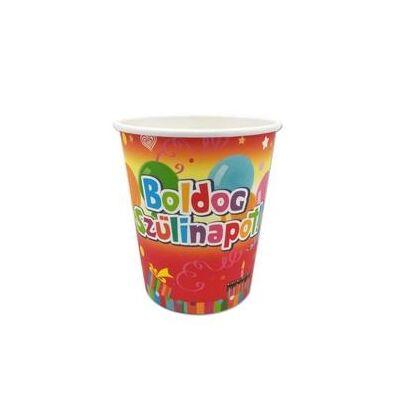 Boldog szülinapot feliratú színes pohár - 6 db-os