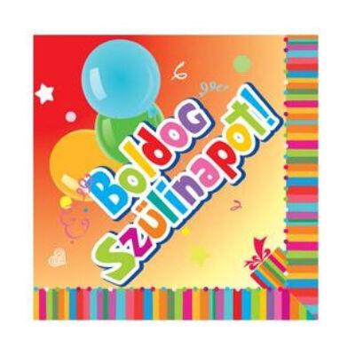 Boldog szülinapot feliratú színes szalvéta - 20 db-os