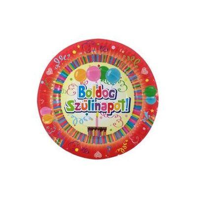 Boldog szülinapot feliratú színes tányér - 6 db-os