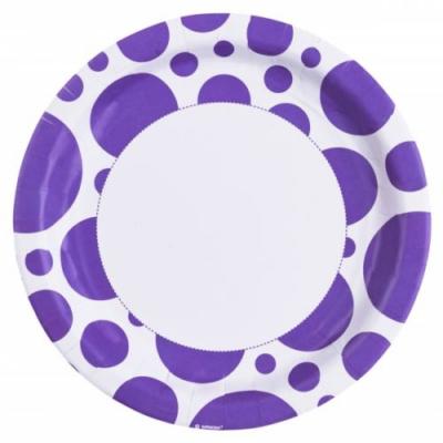 Lila pöttyös parti tányér