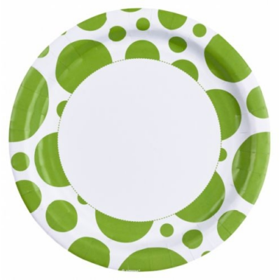 Limezöld pöttyös parti tányér