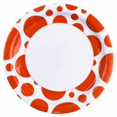 Narancssárga pöttyös parti tányér