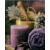 Világító falikép, levendula és lila gyertyával, 1 LED-es